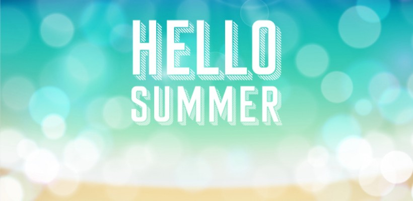Hello summer. Poster on tropical beach background.